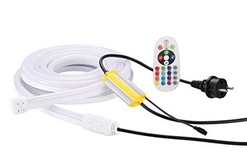 Ogeled IP68 Neon RGB LED Neonflex diffus diffusion led lichtband schlauch Streife Strip mit Kontroller und Fernbedinung 230V 2Meter Kabel ip68 (RGB IP68 2Meter Kabel, 10M)