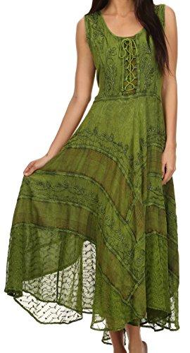 Sakkas 15322 - Azalee Stonewashed Rayon Stickerei Korsett Stil Kleid - Grün - 1X / 2X (Crepe-kleid Festes)