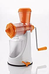 A To Z Sales Fruit & Vegetable Manual Juicer Mixer Grinder With Steel Handle Polypropylene Hand Juicer-White & Orange(AZ8317)