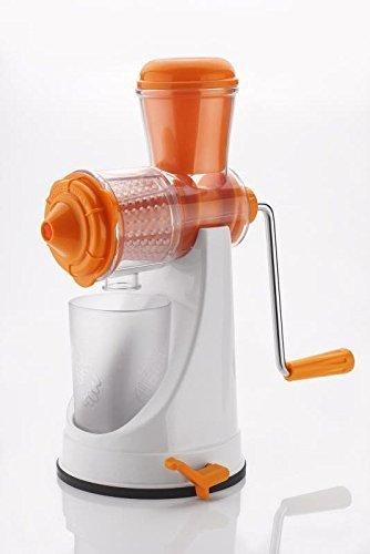 A To Z Sales Fruit & Vegetable Manual Juicer Mixer Grinder With Steel Handle Polypropylene Hand Juicer-White & Orange(AZ8317)
