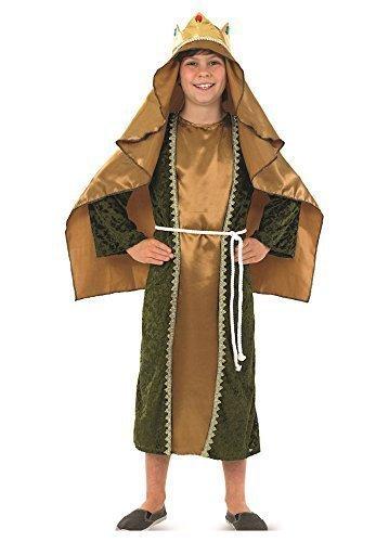 Jungen Mädchen Kinder Gold Weiser Mann Wiseman Geburt Schule Weihnachten Play Kostüm Kleid Outfit - Gold, 10-12 years (Weiser Mann Kostüme Geburt)