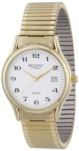 Regent 11300019 - Reloj analógico de cuarzo para hombre con correa de acero inoxidable, color amarillo