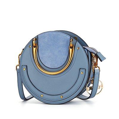 Frauen Rund Metall Handtasche Leder Messenger Taschen Damen Stift Umhängetasche, Damen, Blau