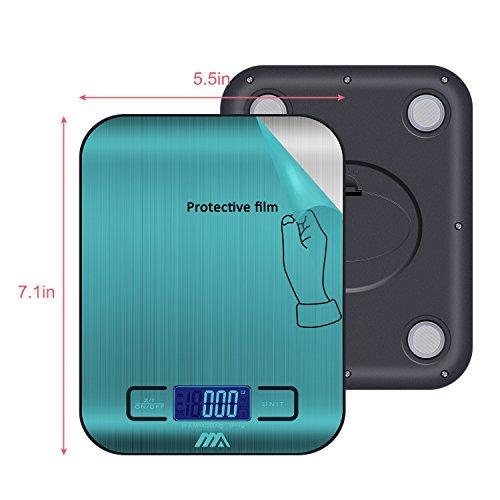 ADORIC Bilancia Digitale da Cucina, Bilancia Digitale Elettronica da Cucina con Alimenti 5kg/11lb e Acciaio Inossidabile(Argento) - 3