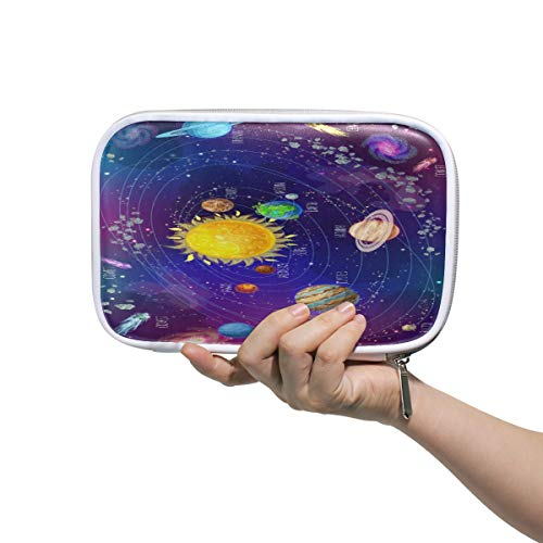 Cartoon-Solarsystem Wissenschaftliche Federmäppchen Stifteetui Stifteetui Stiftebox Handtasche Galaxy Sonne Mond Erde Reise Make-up Kosmetik Tasche Reisepasshalter Aufbewahrung für Frauen (Gute Erde Wissenschaftliche)