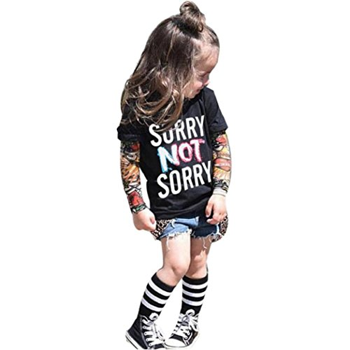 Tops Infant Kolylong 1PC Kids Lange Ärmel Mode Tattoo drucken Sleeve T-Shirt Tops (2T/80, Schwarz2) (Langen T-shirt Ärmeln Bestickt)