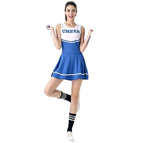 Babyicon Damen Cheerleader Kostüme Uniform Aerobic Sport Verrücktes Kleid Outfit (Blau)