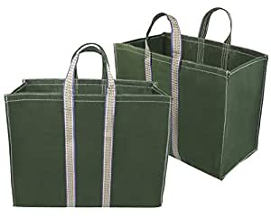 Storite Pack of 2 Canvas Grocery Shopping Bags with Reinforced Handles (40x20x33-cm, Green)