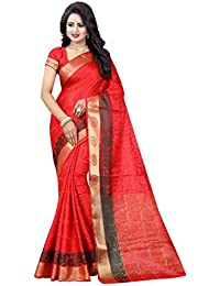 NIRJA CREATION RED COLOR COTTON SILK BANARASI SAREE