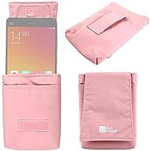 DURAGADGET Funda Protectora Rosa Para Xiaomi MI 4 / 4i / Mi2a / Hongmi 1s / Redmi Note - Trabilla Trasera Para Ajustar Al Cinturón