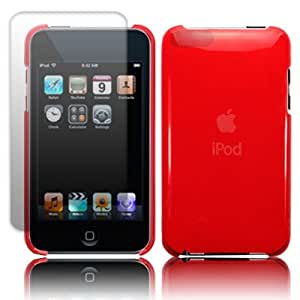 IPOD TOUCH 3 SUPER SLIM FLEX CRYSTAL - RED WITH SCREEN PROTECTOR PART OF THE QUBITS ACCESSORIES RANGE