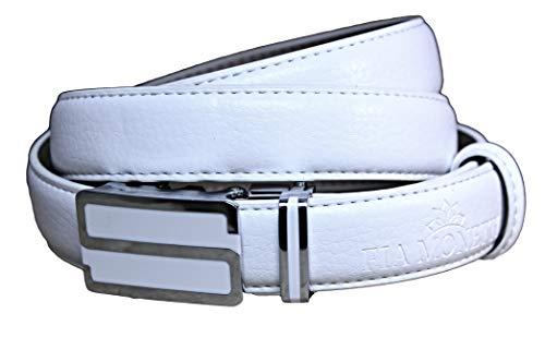 larghezza 2,3 cm MONETTI FIA Cintura pelle con fibbia classica in elegante color bianco accorciabile . lunghezza 115 cm