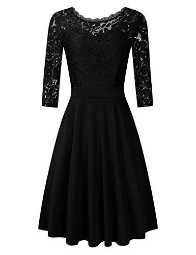 Clearlove Damen Kleider Elegant Spitzenkleid 3/4 Ärmel Cocktailkleid Rundhals Knielang Rockabilly Kleid, Schwarz, M