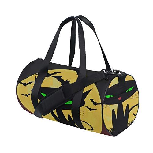 Schwarze Katze Hexen für Halloween Multi leichte große Yoga Gym Totes Handtasche Reise Canvas Duffel Taschen mit Schulter Crossbody Fitness Sport Gepäck für Jungen Mädchen Mens Womens (Halloween-mädchen Beängstigend Make-up)