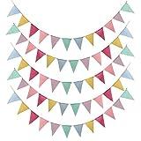 MEJOSER 15metros Guirnaldas Tela 60pcs Banderines de Arpillera de Imitación Banderas Triángulo Decoración Fiesta Cumpleaños Boda Bautizo Jardín Hogar