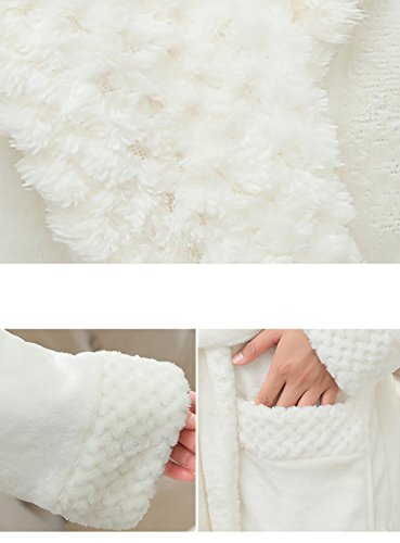 Uomo / Donna Unisex Autunno / Inverno Flanella Accappatoio Accappatoio Caldo Homerobe Accappatoio Bianco Pigiama Spessore Extra Lunghi White