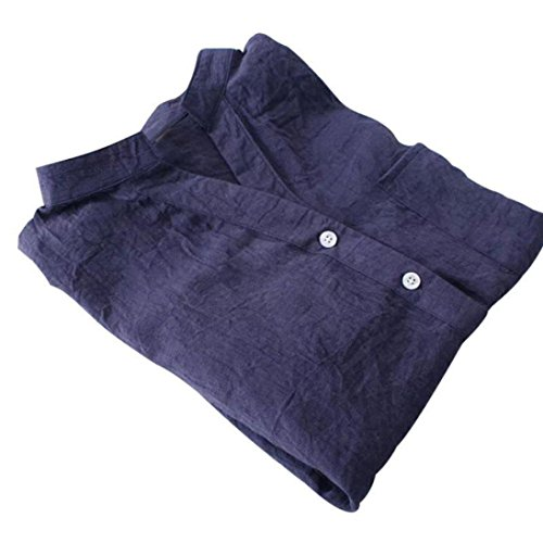Chemisier Femme,Xjp® Hot Collier De Repos Manche Longue Avec Bouton Décontractée Shirt Bleu