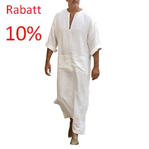 Mens Ethnische Roben lose solide Langarm lose Vintage Kleid Kaftan WH/M