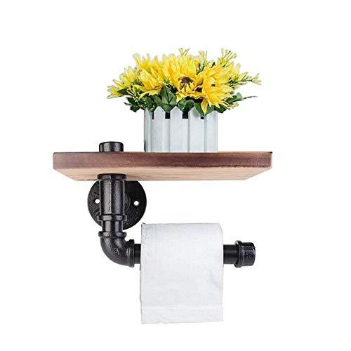 CA Porte Papier Toilettes, fer à repasser Pipe à eau étagères avec planche en bois rétro Tube fer vintage industriel Porte rouleau de papier toilette mural avec étagère de rangement en bois