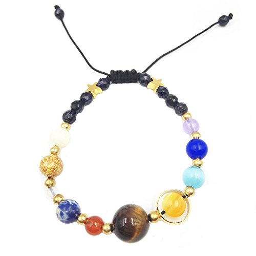 BeatlGem Handgemachte Sonnensystem Armband Universum Galaxy Die Neun Planeten Wächter Stern Naturstein Perlen Armbänder Armreifen Für Frauen und Männer Geschenk -