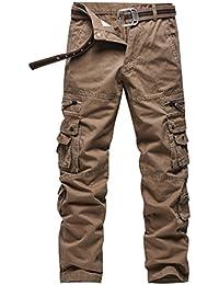 e00e5d5580 Anyu Hombre Pantalones Cargo Multi-Bolsillo del Pantalón Recto Pantalones  Militares