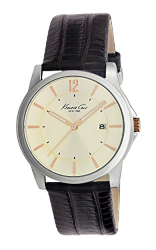 Kenneth Cole Men's Quartz Watch with Beige Dial Analogue Display and Brown Leather Strap KC1720 (Certified Refurbished)