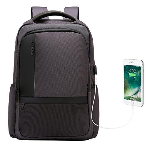 Zaino borsa per PC portatile, 15.6in Slim leggero Tech zaino con porta USB e foro per auricolari, resistente all' acqua per notebook confezione per lavoro, scuola e viaggio, nero/grigio, doppio Elite (de) nero Grey 02