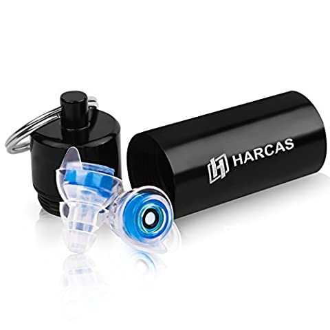 Hearing Protection Ear Plugs by Harcas. Silicone Noise Filtering. Best for Musicians, Drummers, Concerts, Dj's, Studying, Sleeping or Travelling. Clear Blue