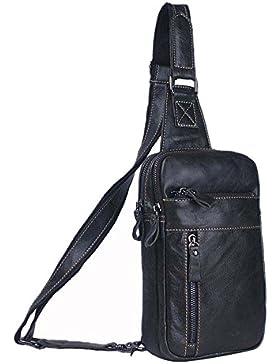 SK Studio Herren echt Leder Vintage Bauchtasche Brusttasche Unisex Schultertaschen