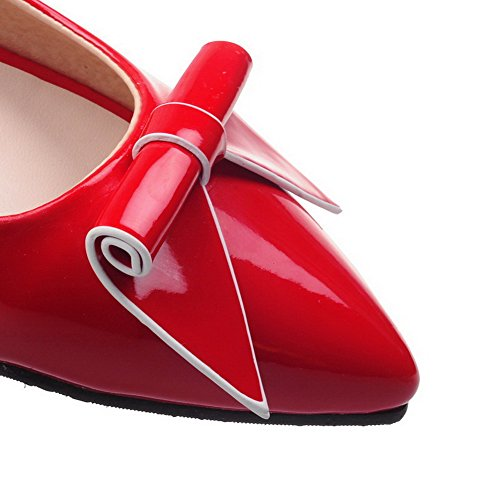 VogueZone009 Femme Pointu Tire Pu Cuir Couleur Unie à Talon Bas Chaussures Légeres Rouge