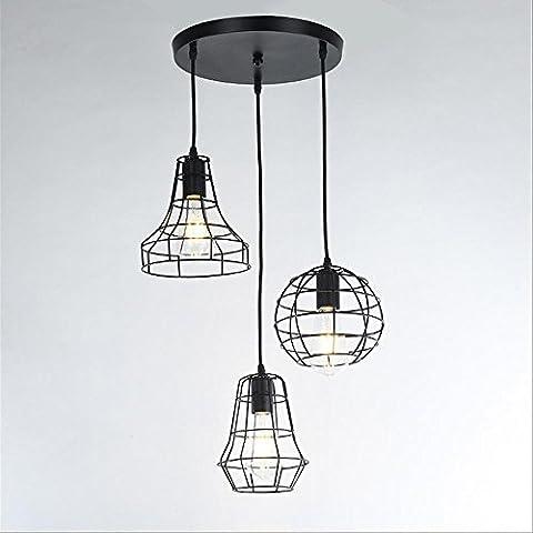 Industriel Rétro Style Luminaires suspendus Restaurant Bar 3 têtes Métal Suspensions Luminaire Vintage Plafonniers Luminaire Lustres Lampe Ombre,E27