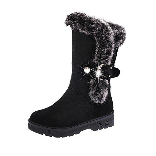 Stiefeletten Damen Winter Btruely Herbst Schuhe Mode Mädchen Stiefel Slip-On Weichen Schnee Stiefel Runde Zehe Flachen Winter (Schwarz, 40) (Runde Zehe Leder Stiefel)