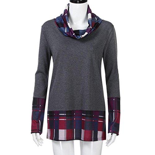 Tefamore Femmes Col roulé à carreaux Chemises Manche longue Sweat-shirt Violet