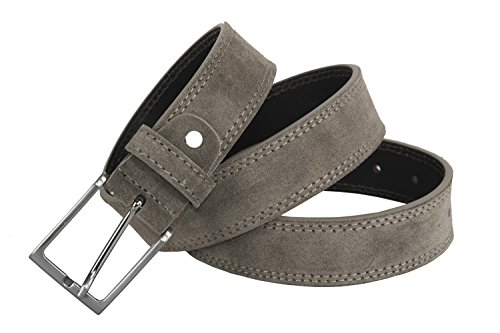 Cintura uomo RONCATO taupe in pelle scamosciata impunturata lunga 120 cm R6434