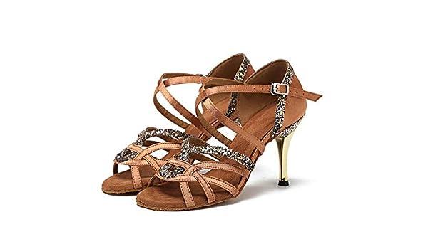 HCCY Chaussures de Danse Latine /à Talons Hauts pour Dames Adultes Brun fonc/é