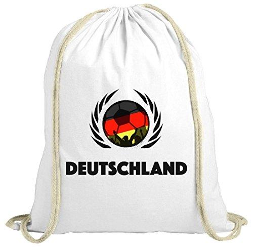 Germany Wappen Soccer Fussball WM Fanfest Gruppen Fan natur Turnbeutel Gym Bag Fußball Deutschland weiß natur