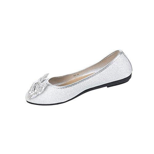 Bailarinas Femininos Cravejado Sapatos Pailetten Bombas Prata a4Craqcwx5