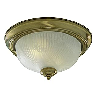 Searchlight Lighting 7622-11AB Antique Brass Finish Flush Ceiling Light with Ribbed Glass Diffuser, 2 x 40 watts