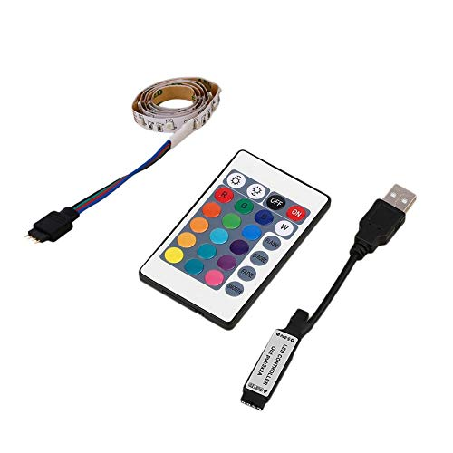0.5/1/2/3/4M 3528 RGB LED Stripe Light Non-Waterproof 4PIN Flexible Home TV Background Light Kit + Remote Control White -