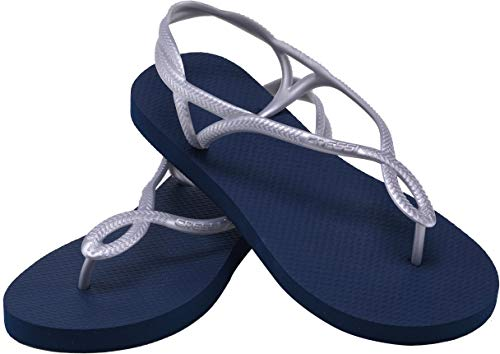 Cressi Lady Flip Flops Marbella with Straps, Ciabatte Infradito Donna, Blu/Argento, 35/36
