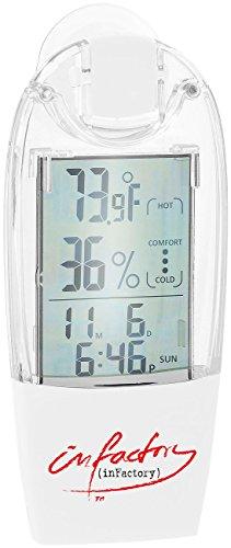 infactory Fensterthermometer: Solar-Fenster-Thermometer und Hygrometer mit Trend-Anzeige (Solar Fensterthermometer) -