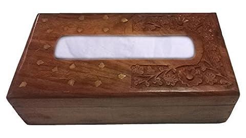IndiaBigShop Journée cadeau de Père Rectangulaire Bois Tissue Box Cover Distributeur avec laiton décoratif Inlay