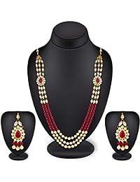 The Luxor Wedding Bridal Jewellery Multi-Strand Rani Haar Kundan Pearl Necklace Set For Women And Girls
