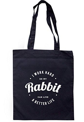breadandbutterthreads i lavori rigida So My Rabbit può vivere una vita migliore Borsa 37,5cm x 42cm con manici lunghi Navy