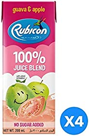 Rubicon Guava & Apple No Sugar Added Juices for Kids - Pack of 4 Pcs (4 x 200ml)