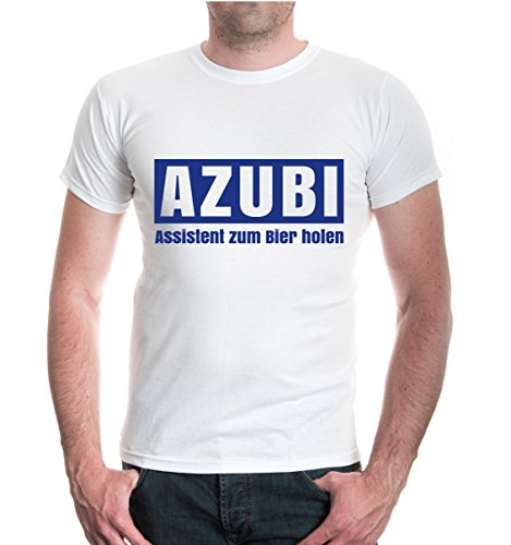 buXsbaum® T-Shirt AZUBI Assistent zum Bier holen White-Royal