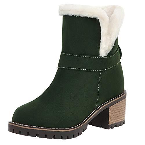 TTLOVE Stiefeletten Damen Mit Absätzen, Warme Gefüttert Slip-On Ankle Boots,Vintage Winter Schuhe Anti-Rutsch Kurze Stiefel Work Boots Elegant Schneeschuhe-Grün, Schwarz, Beige(Grün,35.5 EU) -