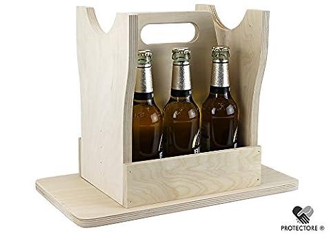 Bierhocker - Flaschenträger aus Holz - für 6 Flaschen - Männerhandtasche - Bierträger - Getränkekorb (naturbelassen)