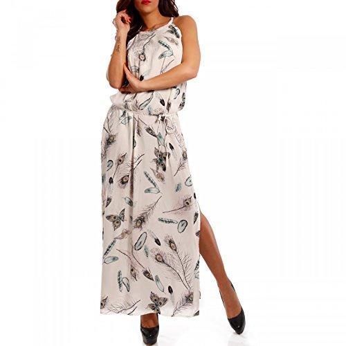 Damen Maxikleid mit Seitenschlitze Trendstarker Print Cremeweiß