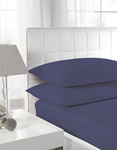 Lenzuola con angoli per letto singolo, matrimoniale, super king, con federe, in policotone, bordo di 24 cm Super King Navy Blue